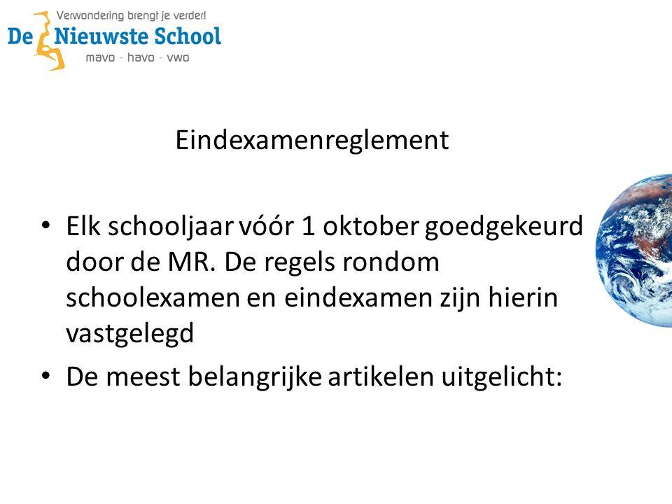 Eindexamenreglement Elk schooljaar vóór 1 oktober goedgekeurd door de MR. De regels rondom schoolexamen en eindexamen zijn hierin vastgelegd De meest