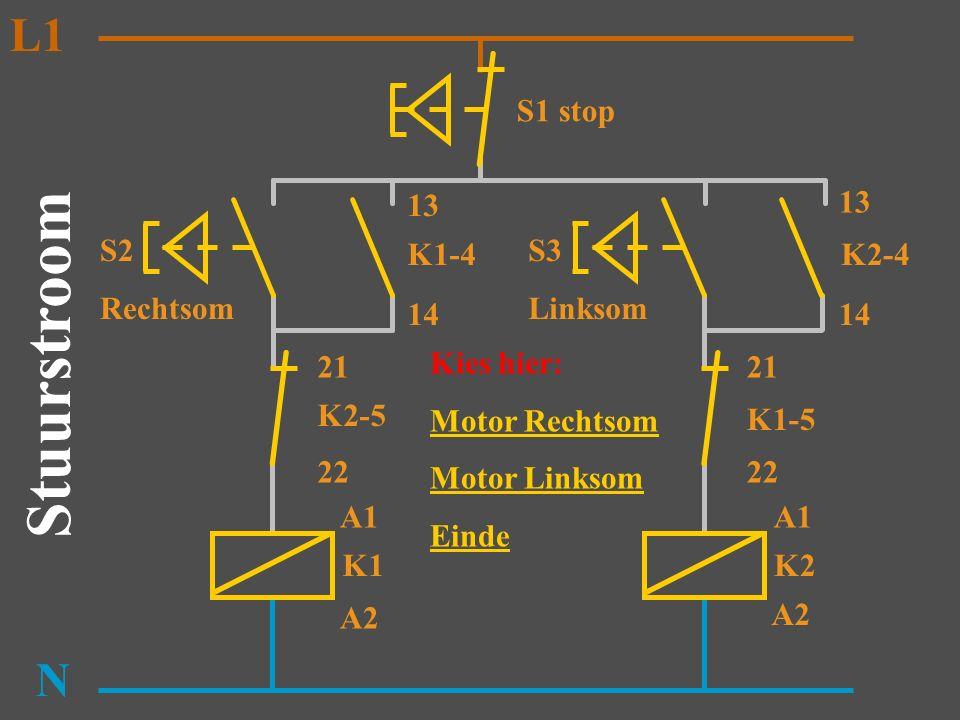S2 Rechtsom K1 N K2-5 K1-4 13 14 A1 A2 Stuurstroom L1 S3 Linksom K2 K1-5 K2-4 13 14 A1 A2 21 22 21 S1 stop Kies hier: Motor Rechtsom Motor Linksom Ein