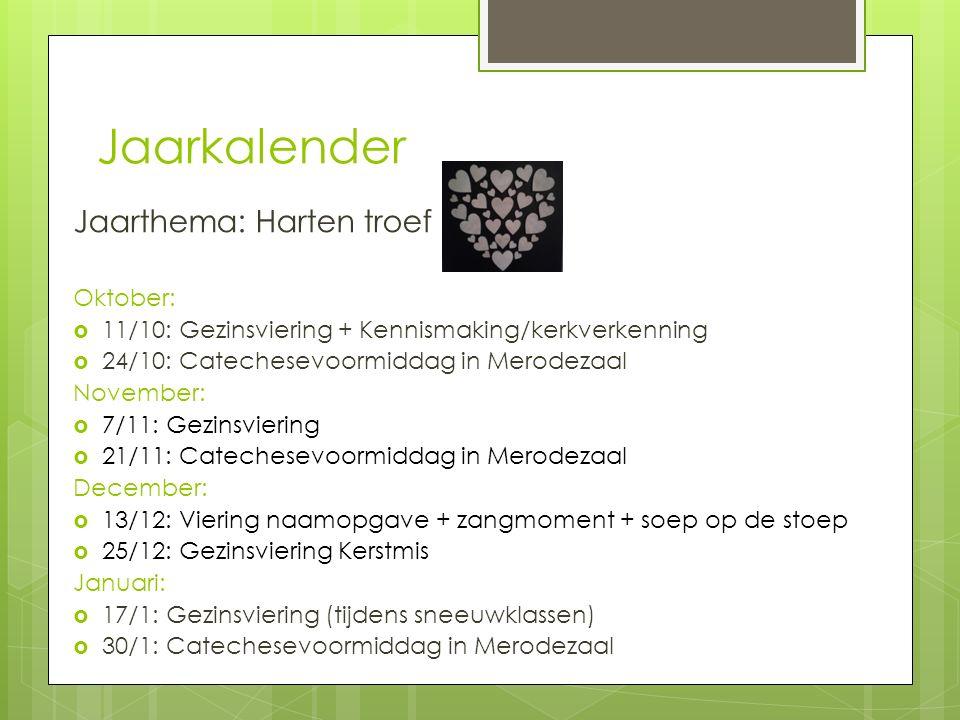 Jaarkalender Jaarthema: Harten troef Oktober:  11/10: Gezinsviering + Kennismaking/kerkverkenning  24/10: Catechesevoormiddag in Merodezaal November