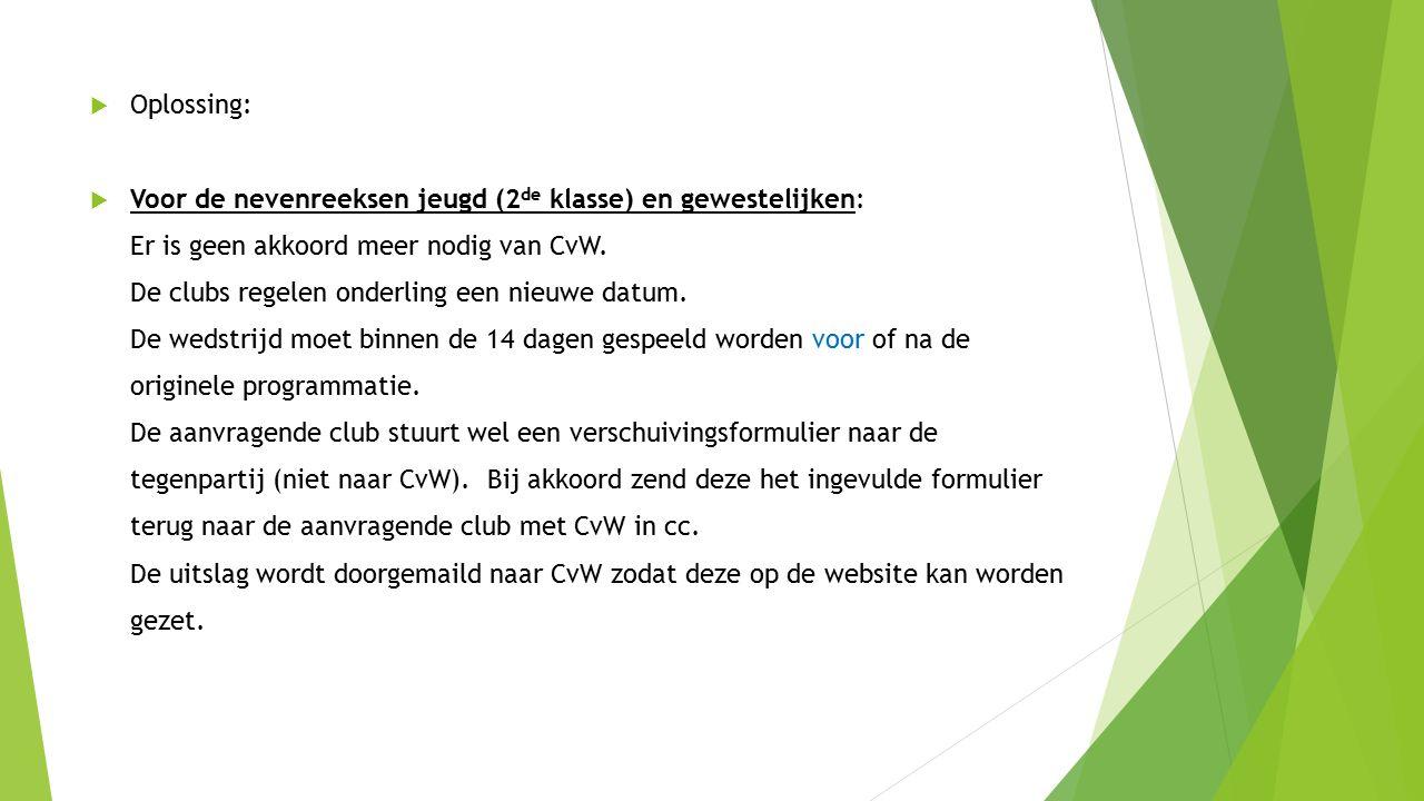  Oplossing:  Voor de nevenreeksen jeugd (2 de klasse) en gewestelijken: Er is geen akkoord meer nodig van CvW.