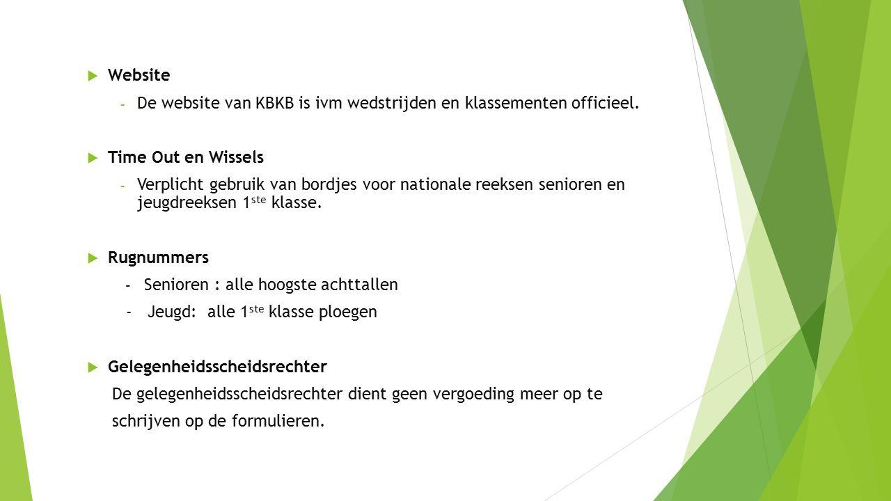  Website - De website van KBKB is ivm wedstrijden en klassementen officieel.