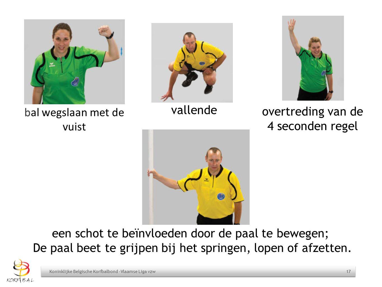 Koninklijke Belgische Korfbalbond -Vlaamse Liga vzw 17 b bal wegslaan met de vuist vallende overtreding van de 4 seconden regel een schot te beïnvloed
