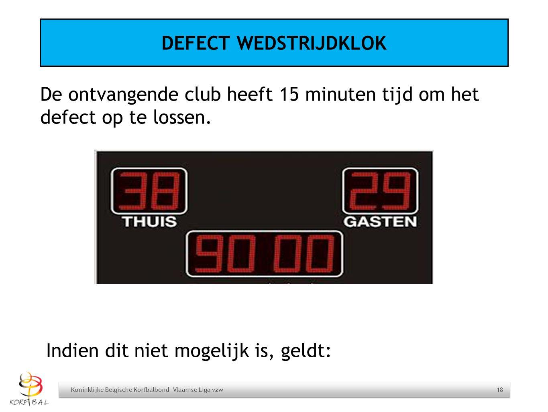 DEFECT WEDSTRIJDKLOK De ontvangende club heeft 15 minuten tijd om het defect op te lossen. Koninklijke Belgische Korfbalbond -Vlaamse Liga vzw 18 Indi