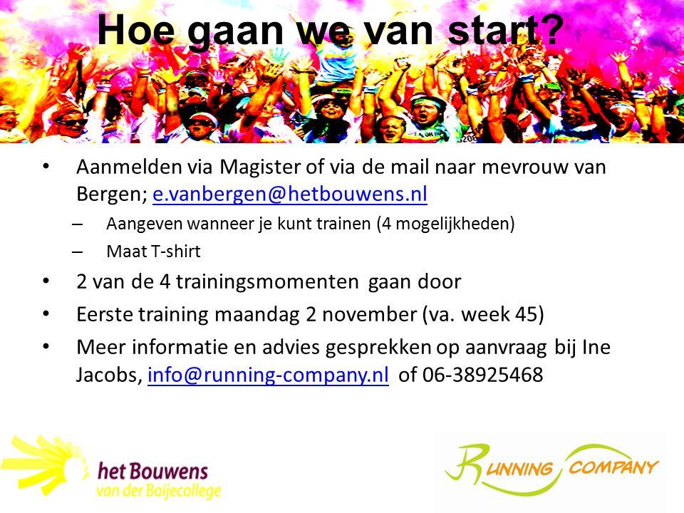 Aanmelden via Magister of via de mail naar mevrouw van Bergen; e.vanbergen@hetbouwens.nle.vanbergen@hetbouwens.nl – Aangeven wanneer je kunt trainen (4 mogelijkheden) – Maat T-shirt 2 van de 4 trainingsmomenten gaan door Eerste training maandag 2 november (va.