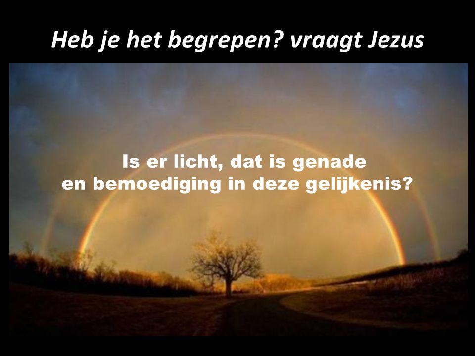 Heb je het begrepen? vraagt Jezus Is er licht, dat is genade en bemoediging in deze gelijkenis?