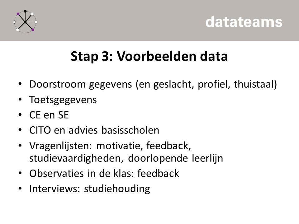 Stap 3: Voorbeelden data Doorstroom gegevens (en geslacht, profiel, thuistaal) Toetsgegevens CE en SE CITO en advies basisscholen Vragenlijsten: motiv