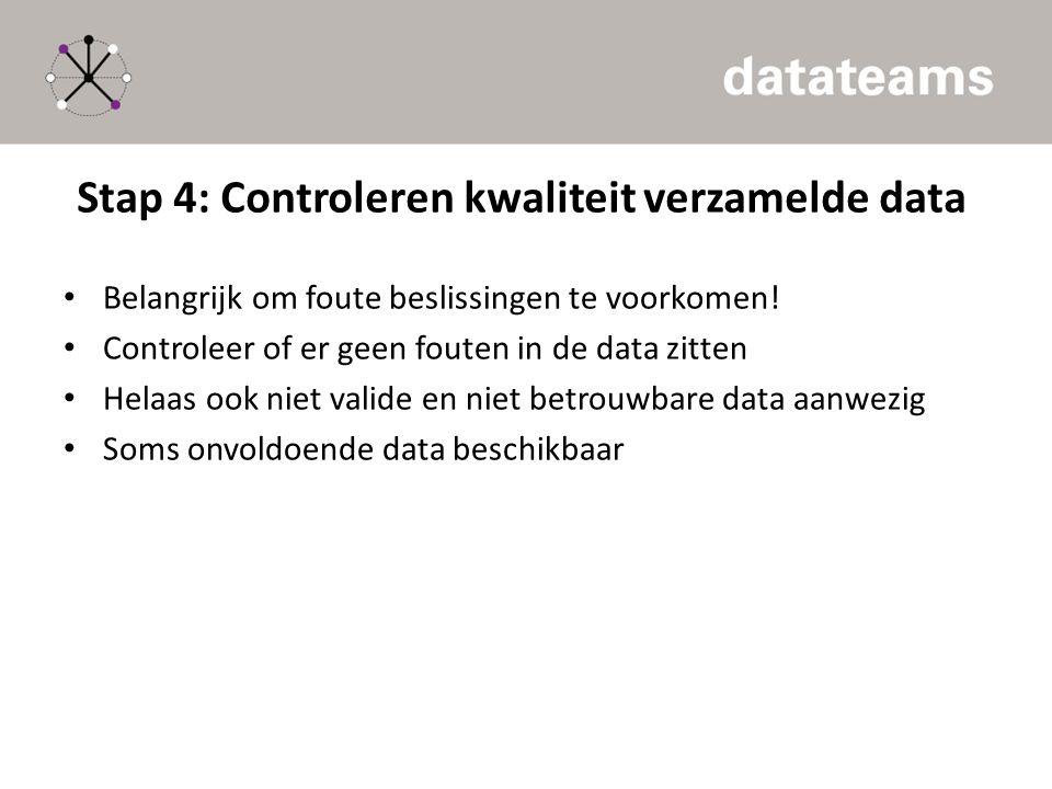 Stap 4: Controleren kwaliteit verzamelde data Belangrijk om foute beslissingen te voorkomen! Controleer of er geen fouten in de data zitten Helaas ook