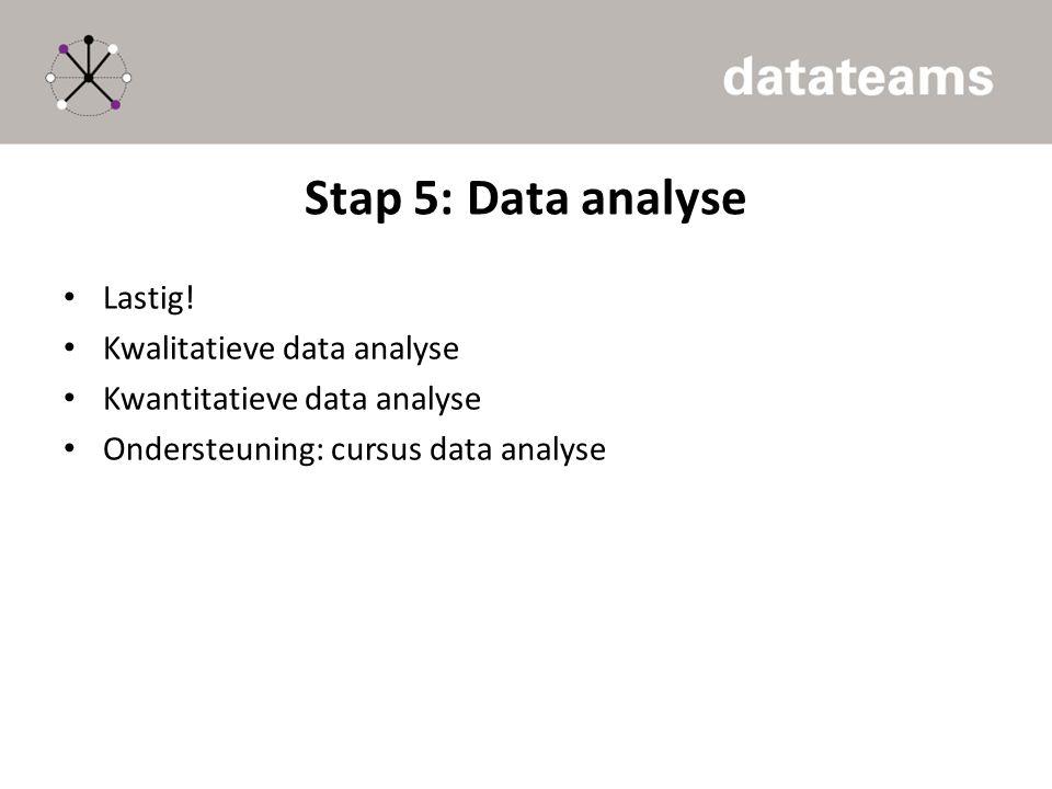 Stap 5: Data analyse Lastig! Kwalitatieve data analyse Kwantitatieve data analyse Ondersteuning: cursus data analyse