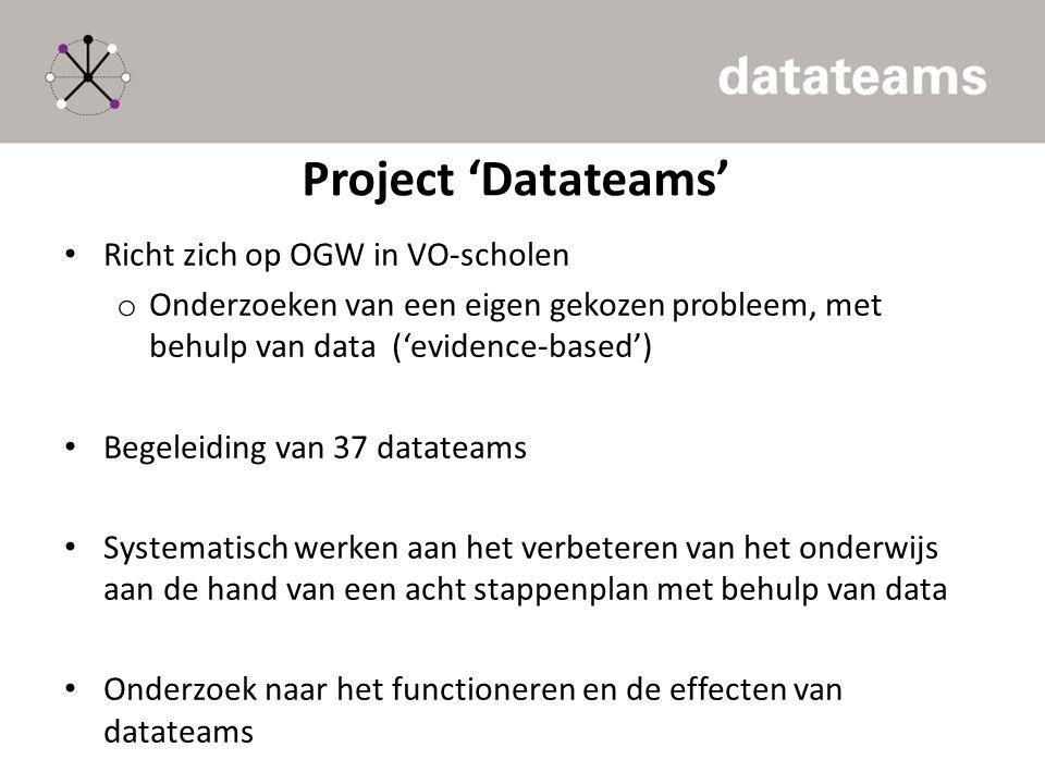 Project 'Datateams' Richt zich op OGW in VO-scholen o Onderzoeken van een eigen gekozen probleem, met behulp van data ('evidence-based') Begeleiding v