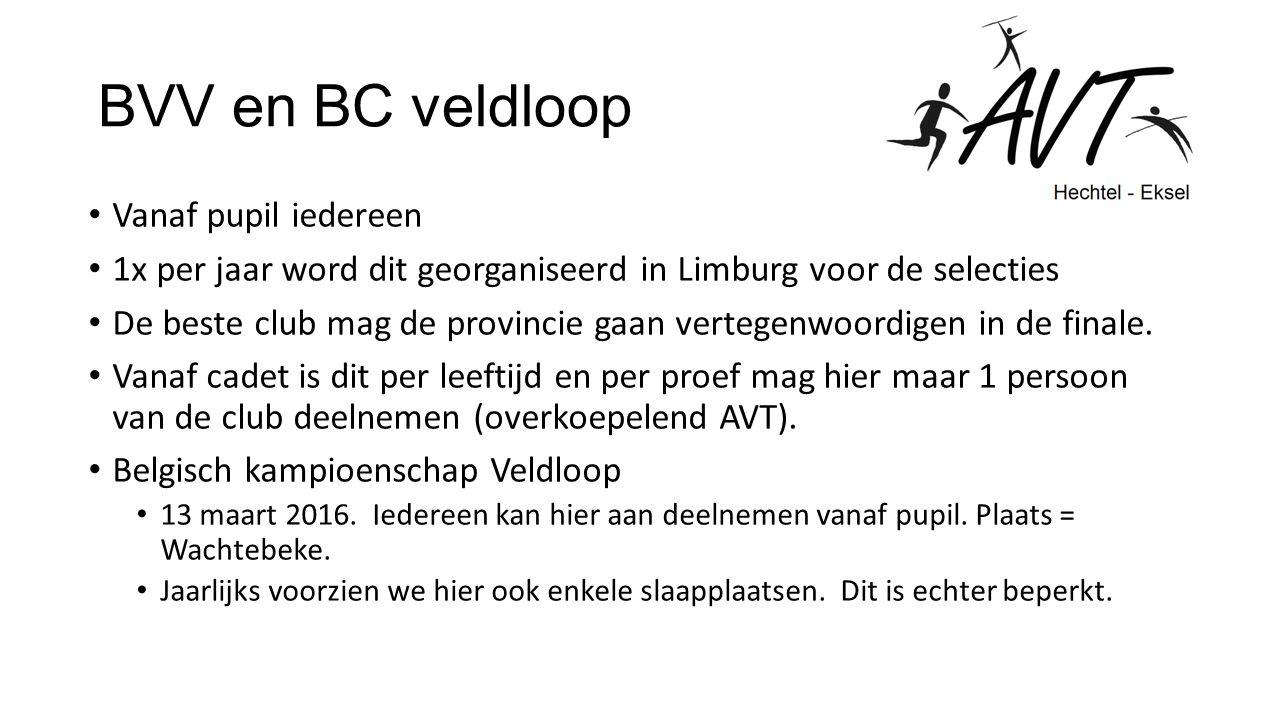 BVV en BC veldloop Vanaf pupil iedereen 1x per jaar word dit georganiseerd in Limburg voor de selecties De beste club mag de provincie gaan vertegenwoordigen in de finale.