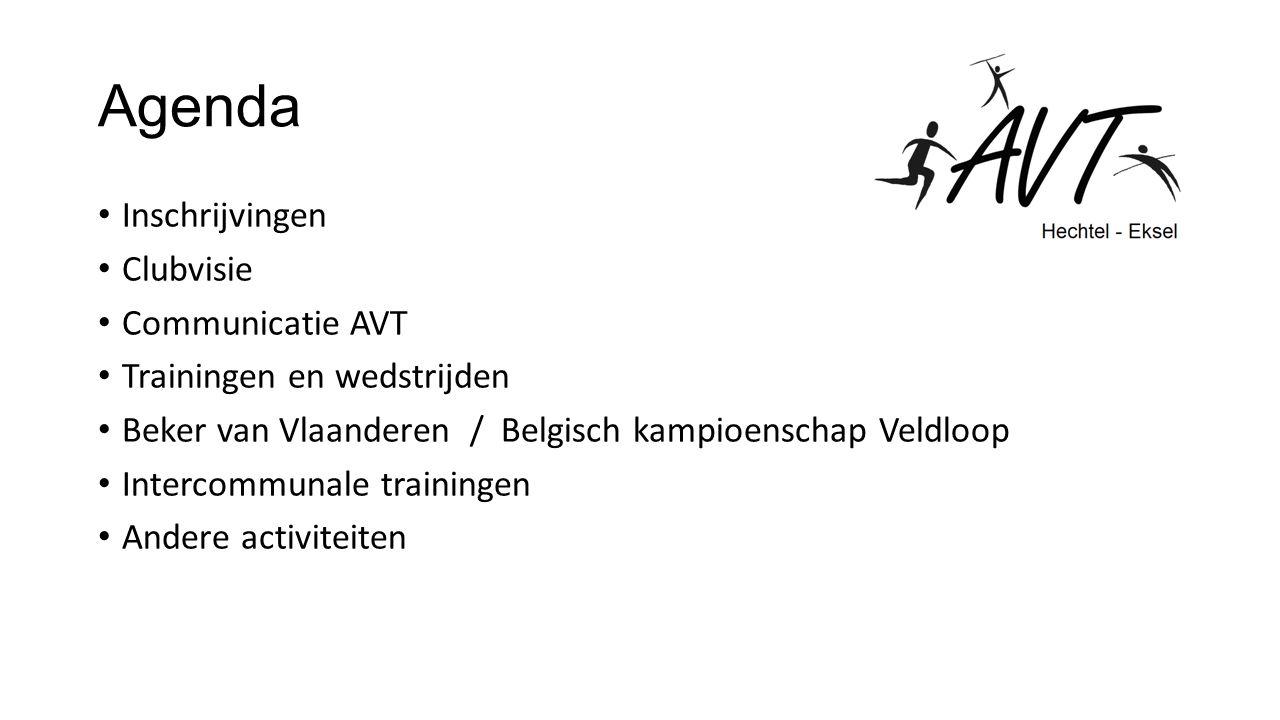 Agenda Inschrijvingen Clubvisie Communicatie AVT Trainingen en wedstrijden Beker van Vlaanderen / Belgisch kampioenschap Veldloop Intercommunale trainingen Andere activiteiten