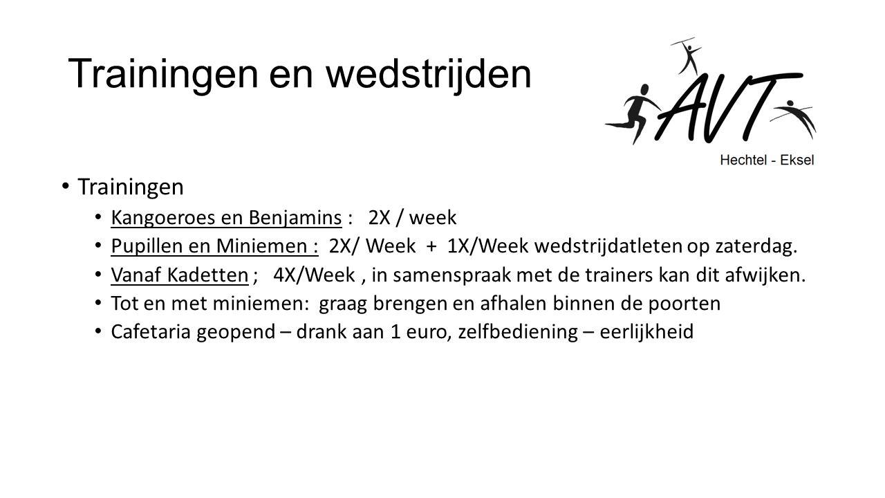 Trainingen en wedstrijden Trainingen Kangoeroes en Benjamins : 2X / week Pupillen en Miniemen : 2X/ Week + 1X/Week wedstrijdatleten op zaterdag.