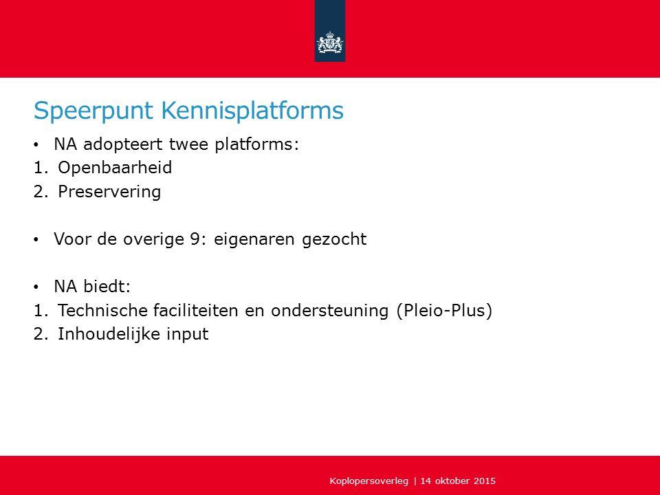 Speerpunt Kennisplatforms NA adopteert twee platforms: 1.Openbaarheid 2.Preservering Voor de overige 9: eigenaren gezocht NA biedt: 1.Technische faciliteiten en ondersteuning (Pleio-Plus) 2.Inhoudelijke input Koplopersoverleg | 14 oktober 2015