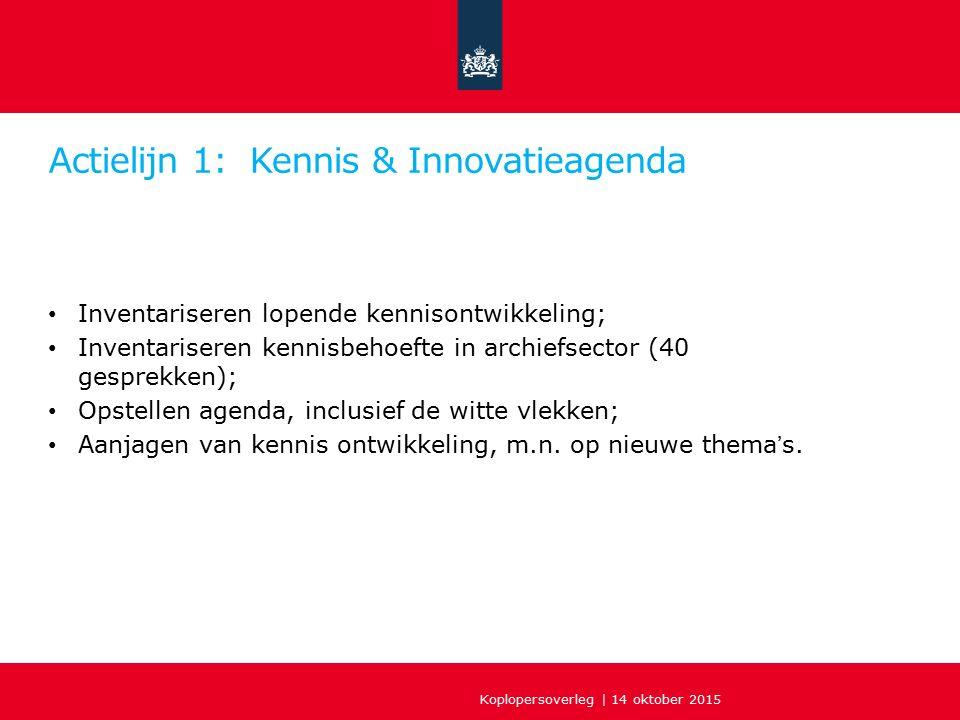 Actielijn 1: Kennis & Innovatieagenda Inventariseren lopende kennisontwikkeling; Inventariseren kennisbehoefte in archiefsector (40 gesprekken); Opstellen agenda, inclusief de witte vlekken; Aanjagen van kennis ontwikkeling, m.n.