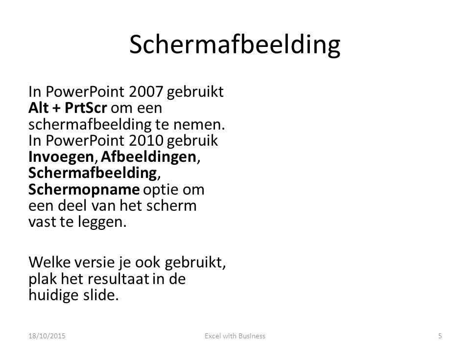 Schermafbeelding In PowerPoint 2007 gebruikt Alt + PrtScr om een schermafbeelding te nemen.