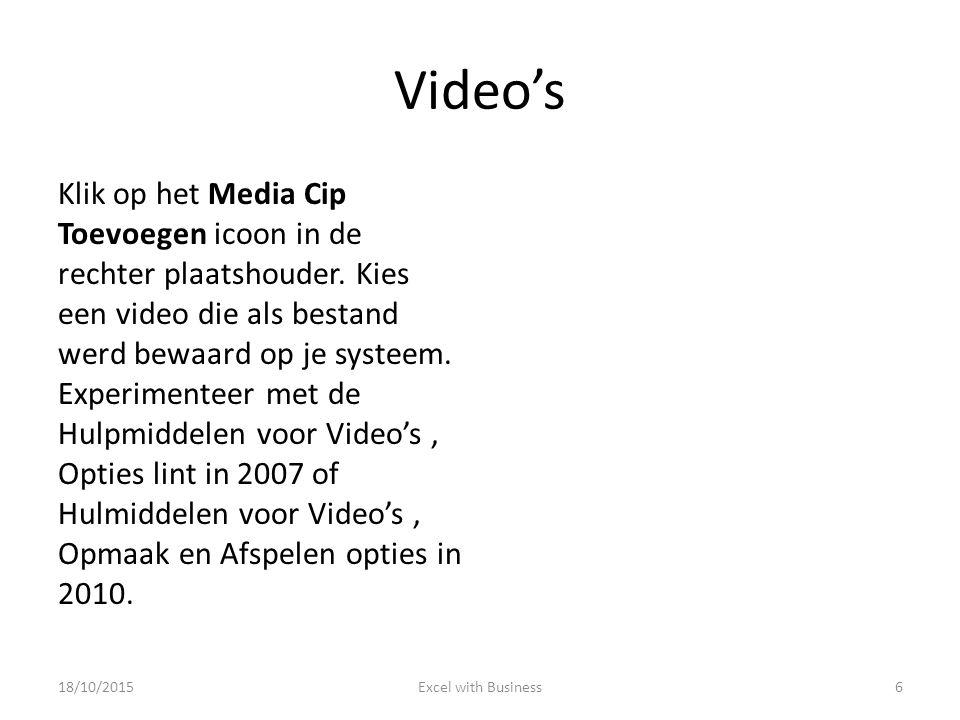 Video's Klik op het Media Cip Toevoegen icoon in de rechter plaatshouder.