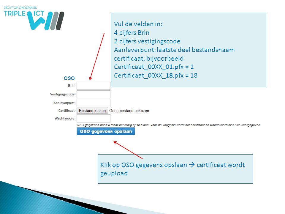 Vul de velden in: 4 cijfers Brin 2 cijfers vestigingscode Aanleverpunt: laatste deel bestandsnaam certificaat, bijvoorbeeld Certificaat_00XX_01.pfx =