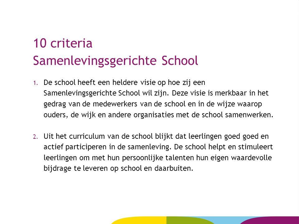 10 criteria Samenlevingsgerichte School 1. De school heeft een heldere visie op hoe zij een Samenlevingsgerichte School wil zijn. Deze visie is merkba