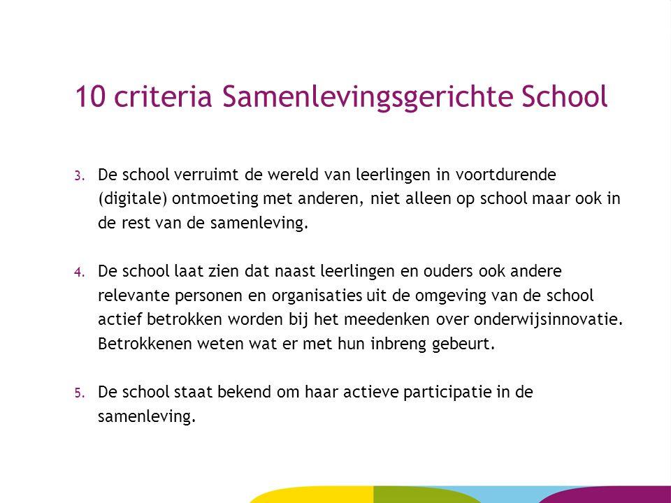 10 criteria Samenlevingsgerichte School 3. De school verruimt de wereld van leerlingen in voortdurende (digitale) ontmoeting met anderen, niet alleen