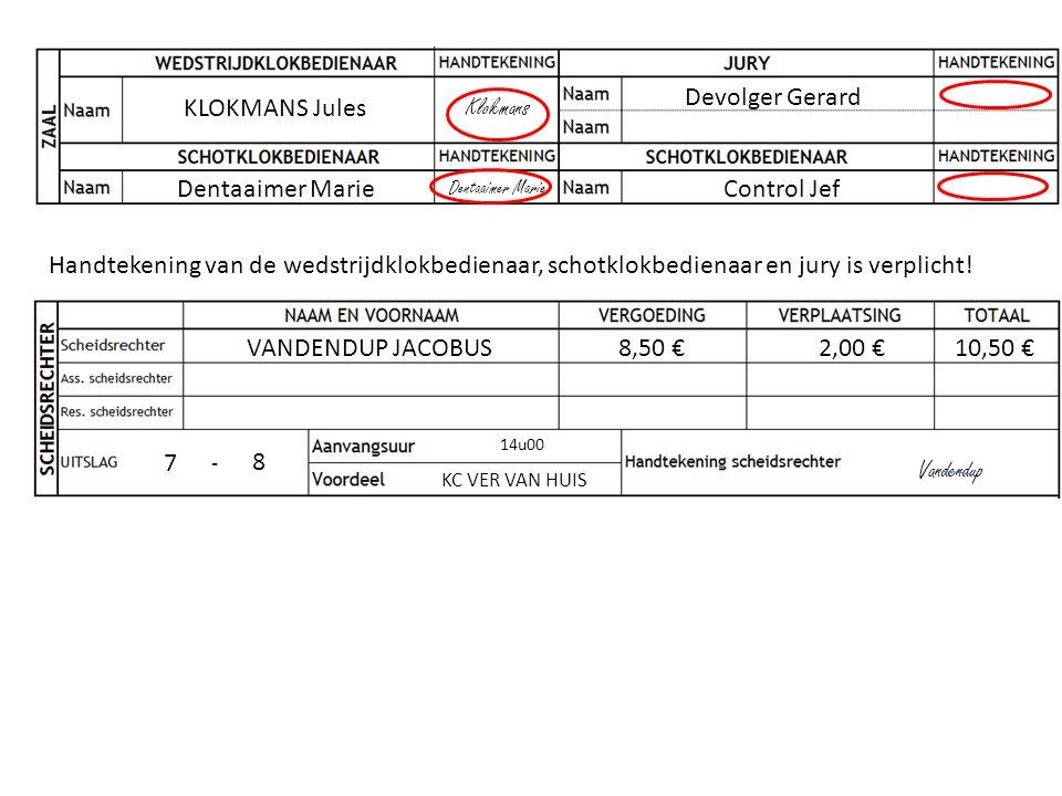 KLOKMANS Jules Klokmans Handtekening van de wedstrijdklokbedienaar, schotklokbedienaar en jury is verplicht! VANDENDUP JACOBUS8,50 €2,00 €10,50 € 14u0