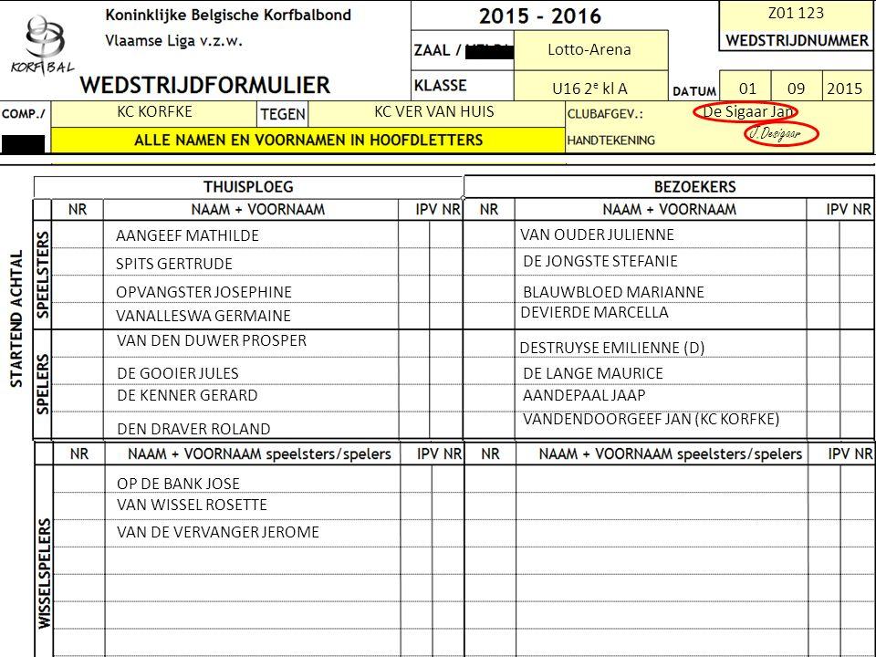 Z01 123 Lotto-Arena U16 2e 2e kl A 01092015 KC KORFKEKC VER VAN HUISDe Sigaar Jan J.Desigaar AANGEEF MATHILDE SPITS GERTRUDE OPVANGSTER JOSEPHINE VANA