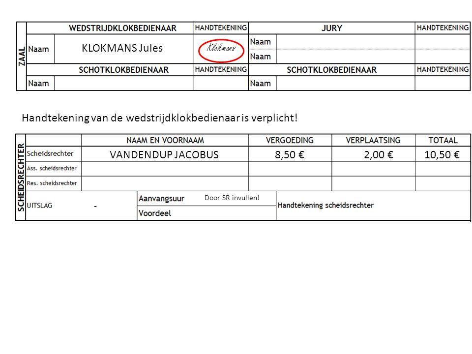 KLOKMANS Jules Klokmans Handtekening van de wedstrijdklokbedienaar is verplicht! VANDENDUP JACOBUS8,50 €2,00 €10,50 € Door SR invullen!