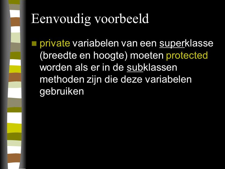 Eenvoudig voorbeeld private variabelen van een superklasse (breedte en hoogte) moeten protected worden als er in de subklassen methoden zijn die deze variabelen gebruiken