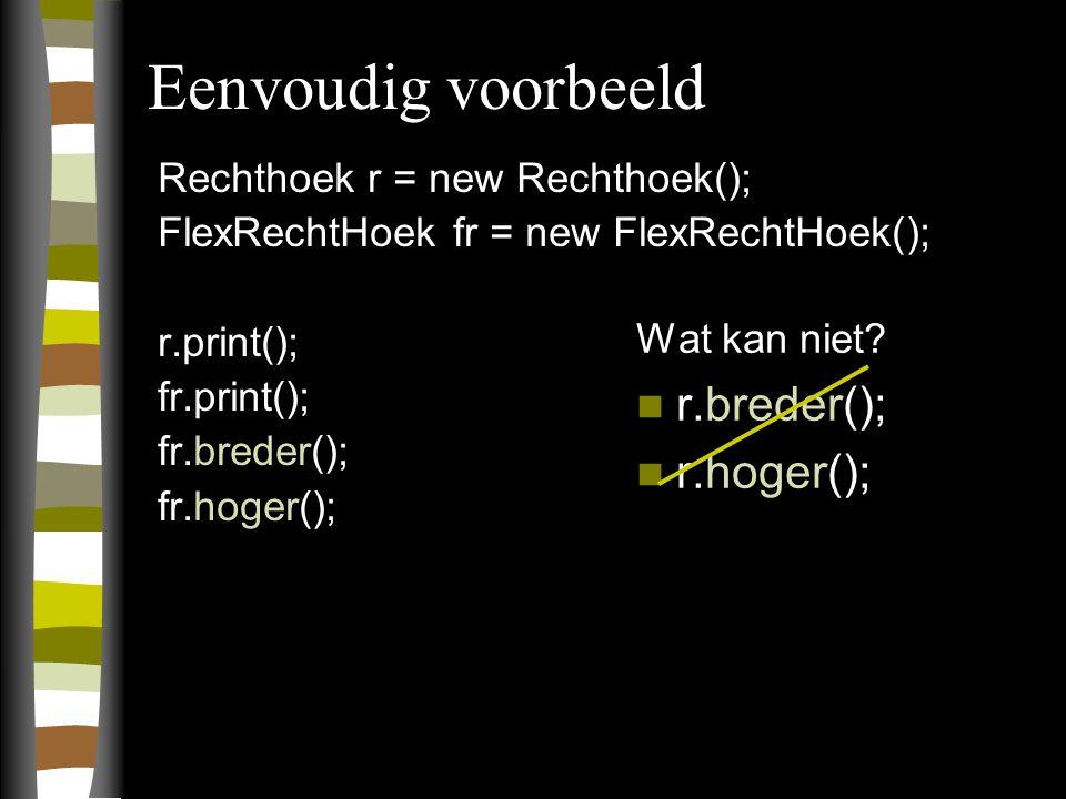 Eenvoudig voorbeeld Rechthoek r = new Rechthoek(); FlexRechtHoek fr = new FlexRechtHoek(); r.print(); fr.print(); fr.breder(); fr.hoger(); Wat kan niet.