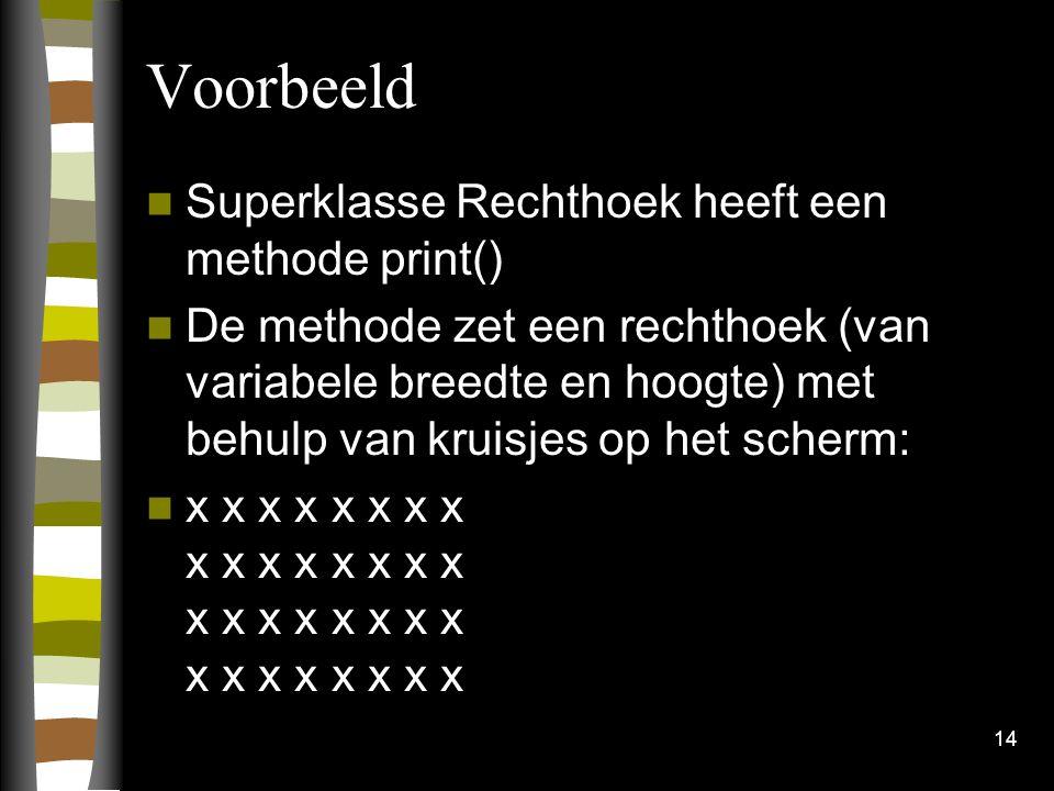 Voorbeeld Superklasse Rechthoek heeft een methode print() De methode zet een rechthoek (van variabele breedte en hoogte) met behulp van kruisjes op het scherm: x x x x x x x x x x x x x x x x x x x x x x x x x x x x x x x x 14