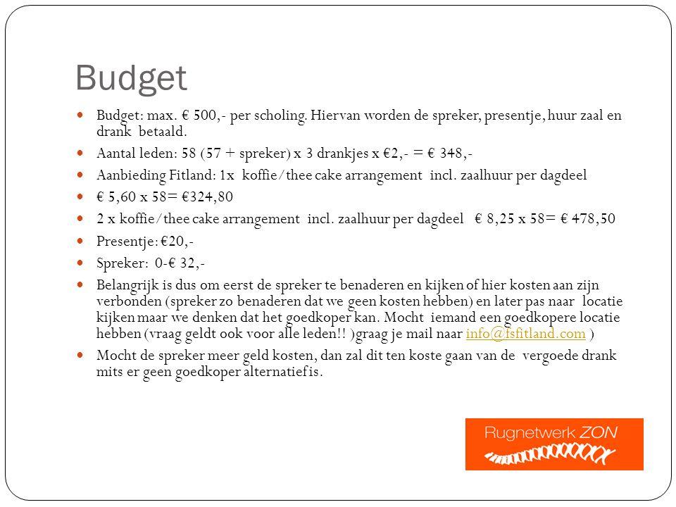 Budget Budget: max. € 500,- per scholing.