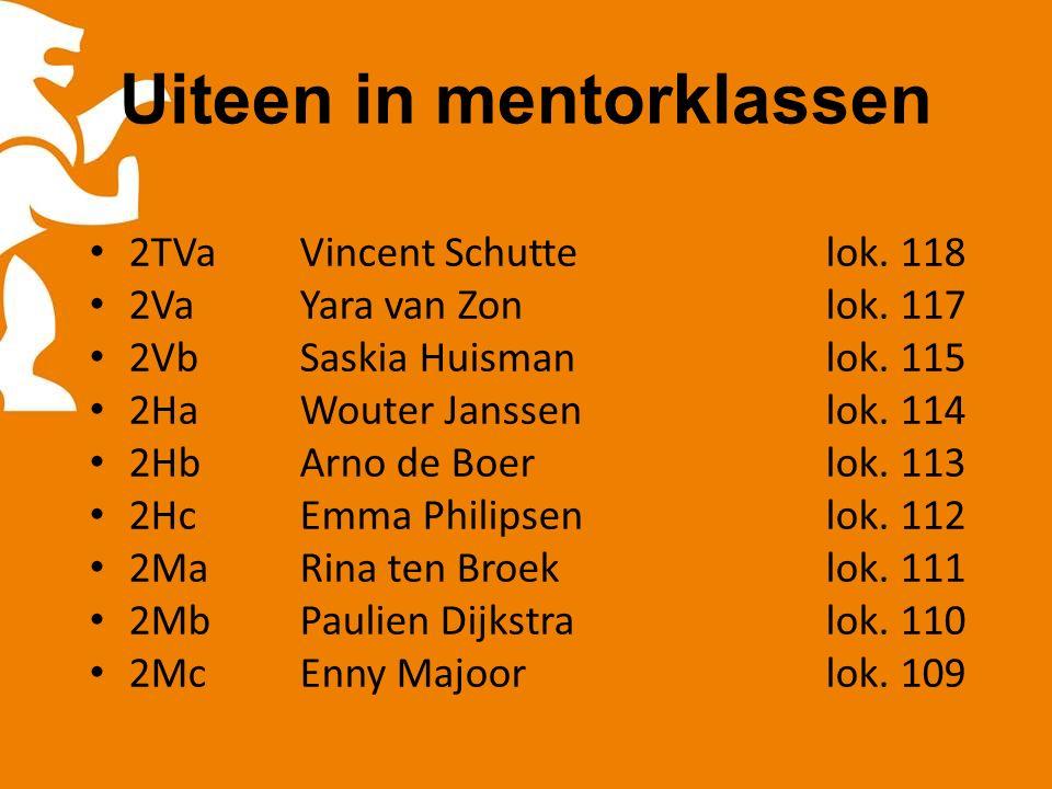 Uiteen in mentorklassen 2TVaVincent Schuttelok.118 2VaYara van Zonlok.
