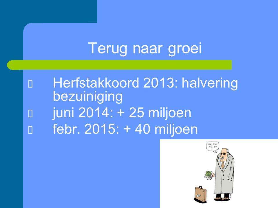 12/26 Terug naar groei  Herfstakkoord 2013: halvering bezuiniging  juni 2014: + 25 miljoen  febr.