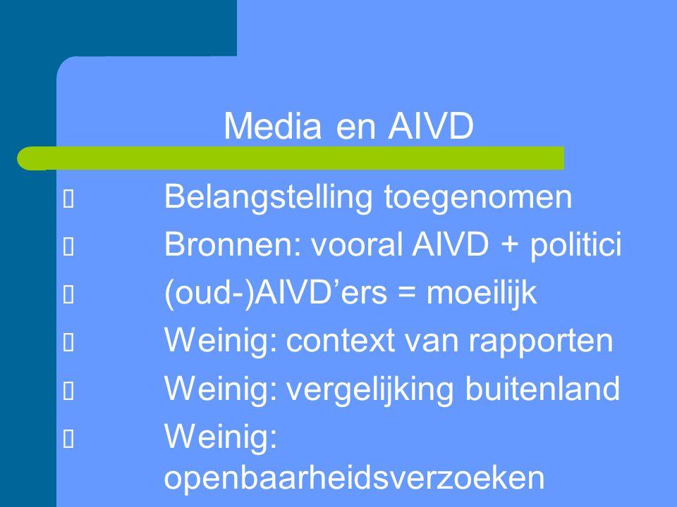 Media en AIVD  Belangstelling toegenomen  Bronnen: vooral AIVD + politici  (oud-)AIVD'ers = moeilijk  Weinig: context van rapporten  Weinig: vergelijking buitenland  Weinig: openbaarheidsverzoeken