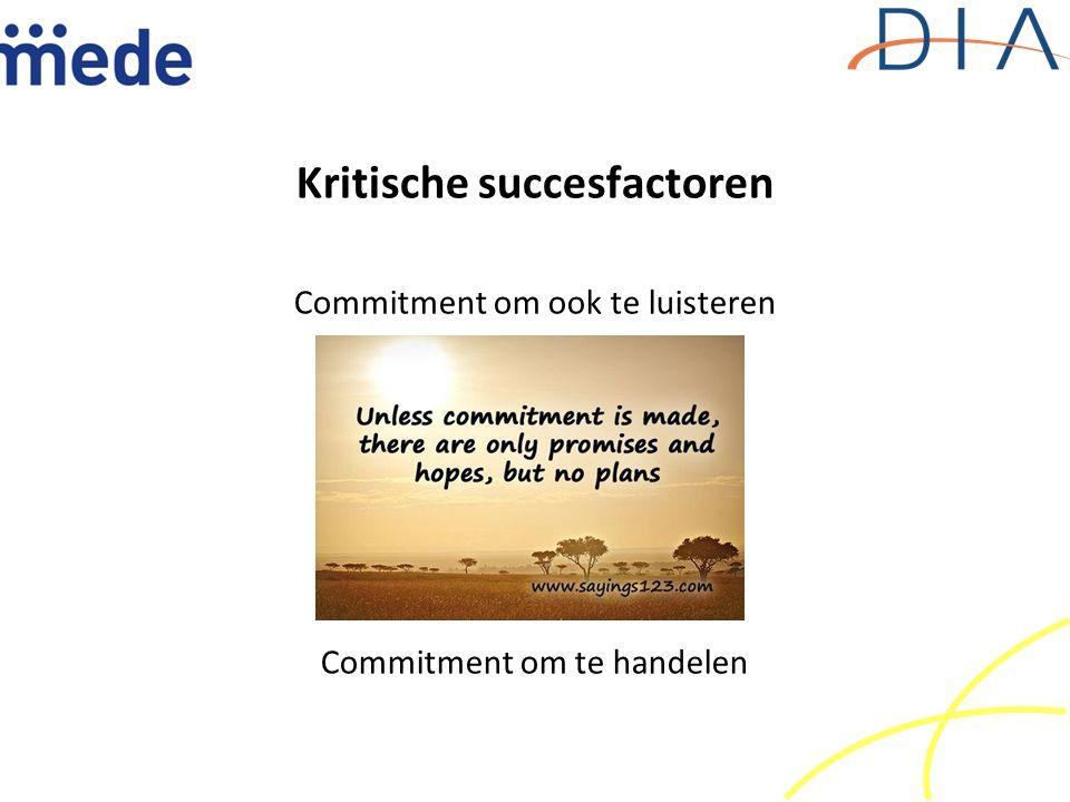 Kritische succesfactoren Commitment om ook te luisteren Commitment om te handelen