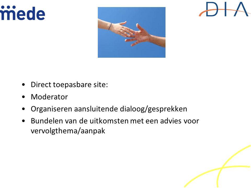 Direct toepasbare site: Moderator Organiseren aansluitende dialoog/gesprekken Bundelen van de uitkomsten met een advies voor vervolgthema/aanpak