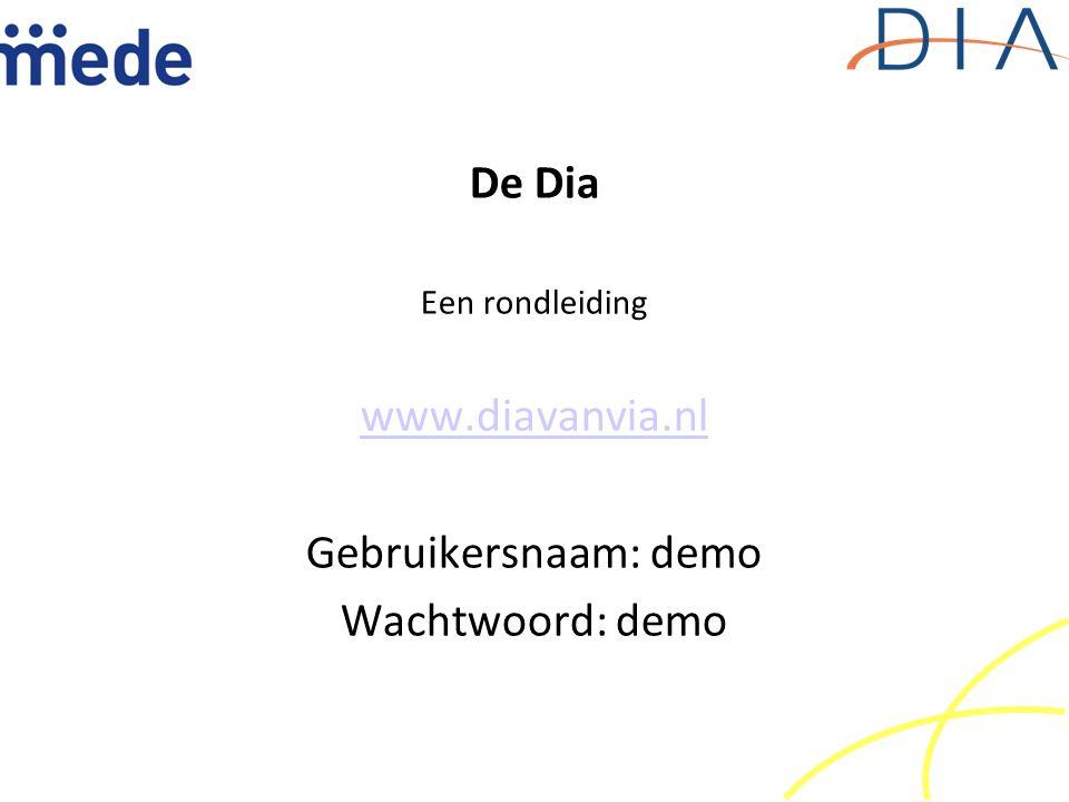 De Dia Een rondleiding www.diavanvia.nl Gebruikersnaam: demo Wachtwoord: demo