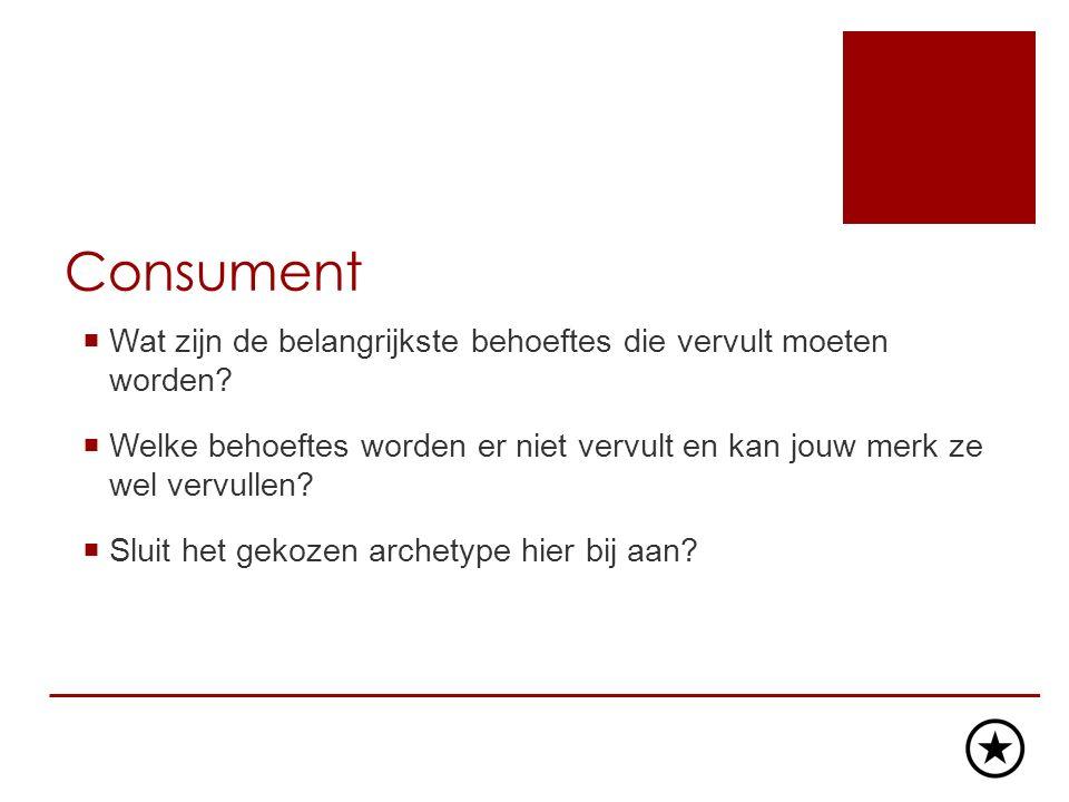 Consument  Wat zijn de belangrijkste behoeftes die vervult moeten worden.