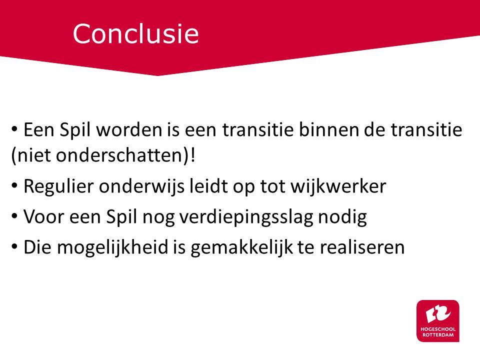 Conclusie Een Spil worden is een transitie binnen de transitie (niet onderschatten).