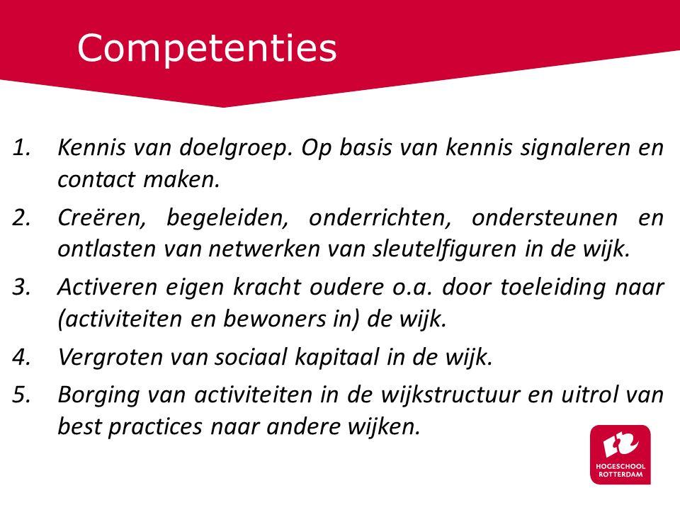 Competenties 1.Kennis van doelgroep. Op basis van kennis signaleren en contact maken.