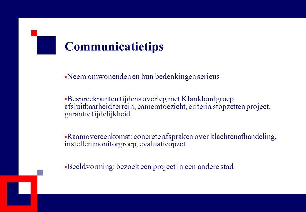 Communicatietips  Neem omwonenden en hun bedenkingen serieus  Bespreekpunten tijdens overleg met Klankbordgroep: afsluitbaarheid terrein, cameratoez