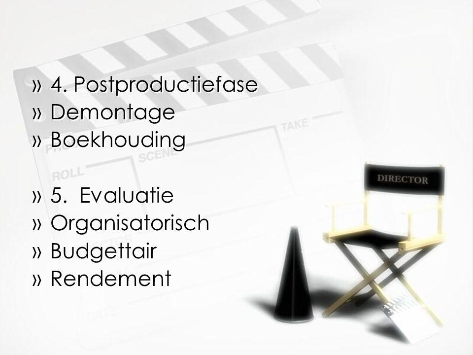 »4.Postproductiefase »Demontage »Boekhouding »5.