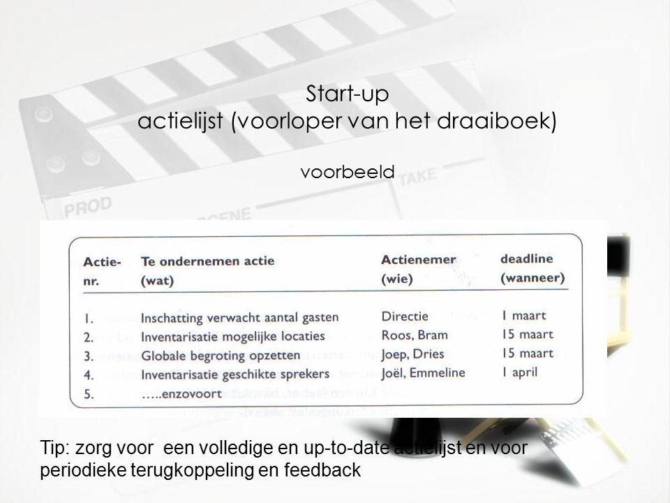 Start-up actielijst (voorloper van het draaiboek) voorbeeld voorbeeld Tip: zorg voor een volledige en up-to-date actielijst en voor periodieke terugkoppeling en feedback