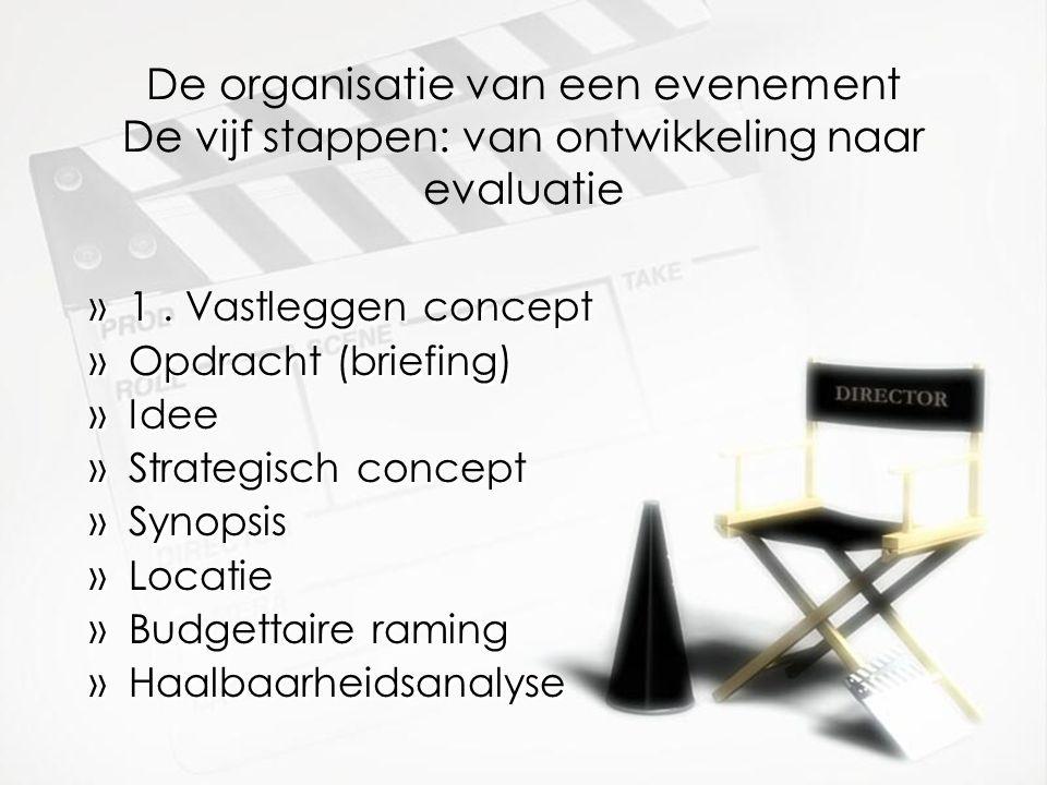 De organisatie van een evenement De vijf stappen: van ontwikkeling naar evaluatie »1.