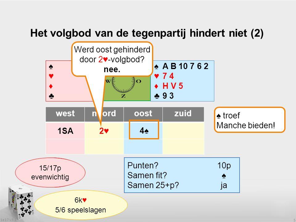 1e17 v3.1 6 Het volgbod van de tegenpartij hindert niet (3) ♠♥♦♣♠♥♦♣ westnoordoostzuid 1♥1♠ Wat heeft partner.