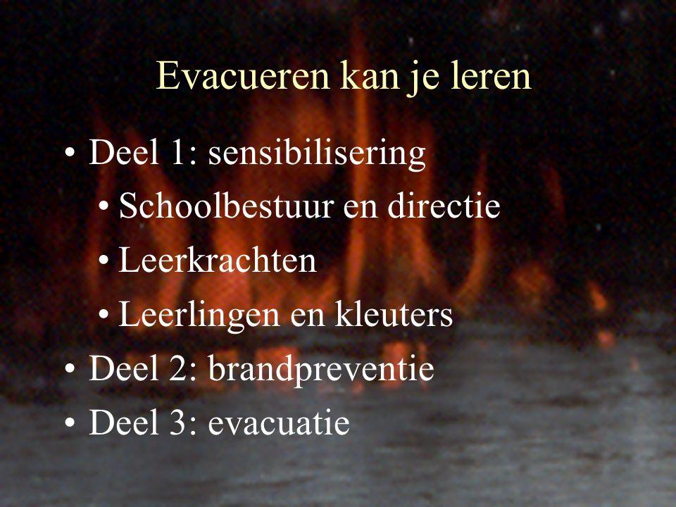 Evacueren kan je leren Deel 1: sensibilisering Schoolbestuur en directie Leerkrachten Leerlingen en kleuters Deel 2: brandpreventie Deel 3: evacuatie