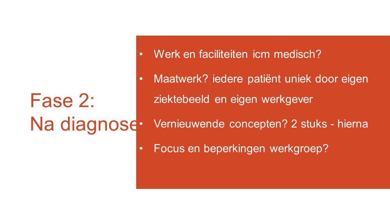 Fase 2: Na diagnose Werk en faciliteiten icm medisch? Maatwerk? iedere patiënt uniek door eigen ziektebeeld en eigen werkgever Vernieuwende concepten?