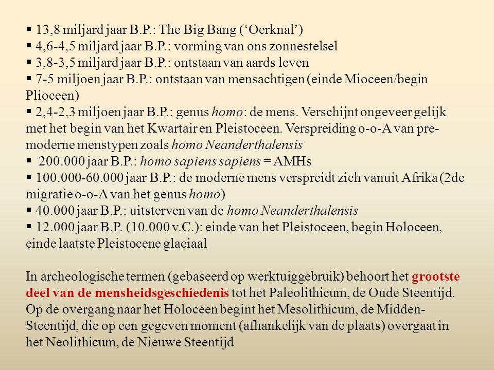  13,8 miljard jaar B.P.: The Big Bang ('Oerknal')  4,6-4,5 miljard jaar B.P.: vorming van ons zonnestelsel  3,8-3,5 miljard jaar B.P.: ontstaan van
