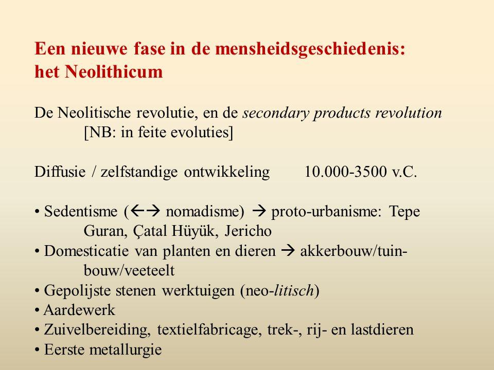 Een nieuwe fase in de mensheidsgeschiedenis: het Neolithicum De Neolitische revolutie, en de secondary products revolution [NB: in feite evoluties] Diffusie / zelfstandige ontwikkeling 10.000-3500 v.C.