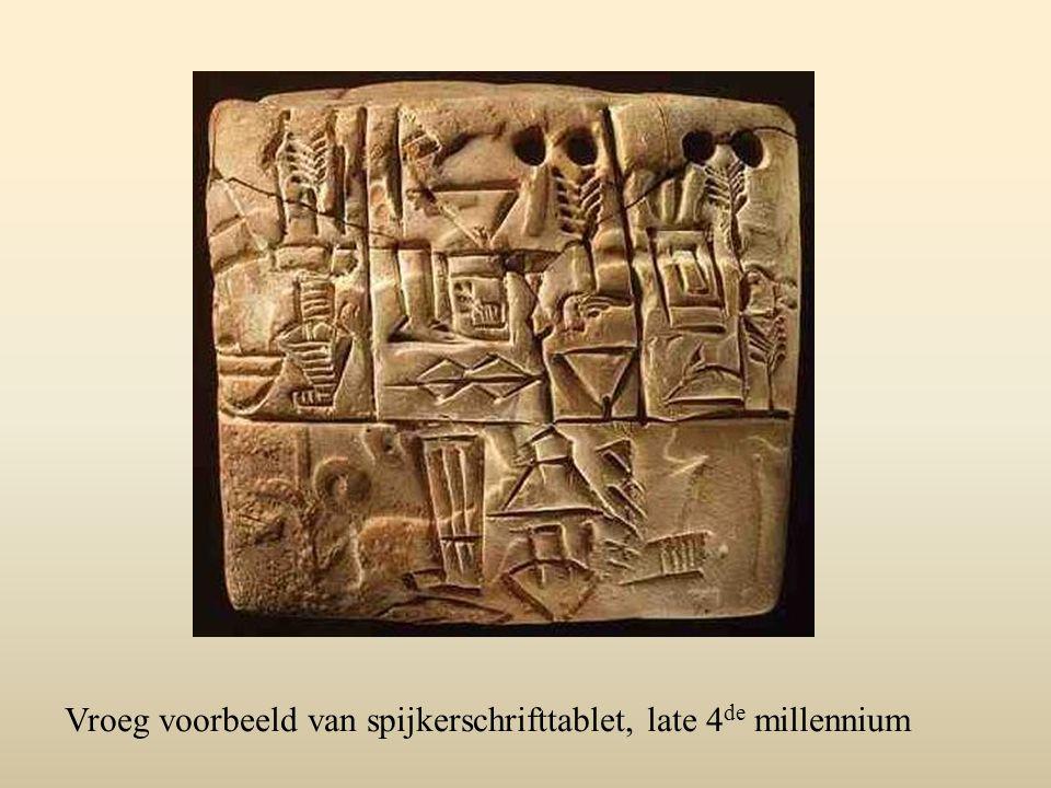 Vroeg voorbeeld van spijkerschrifttablet, late 4 de millennium