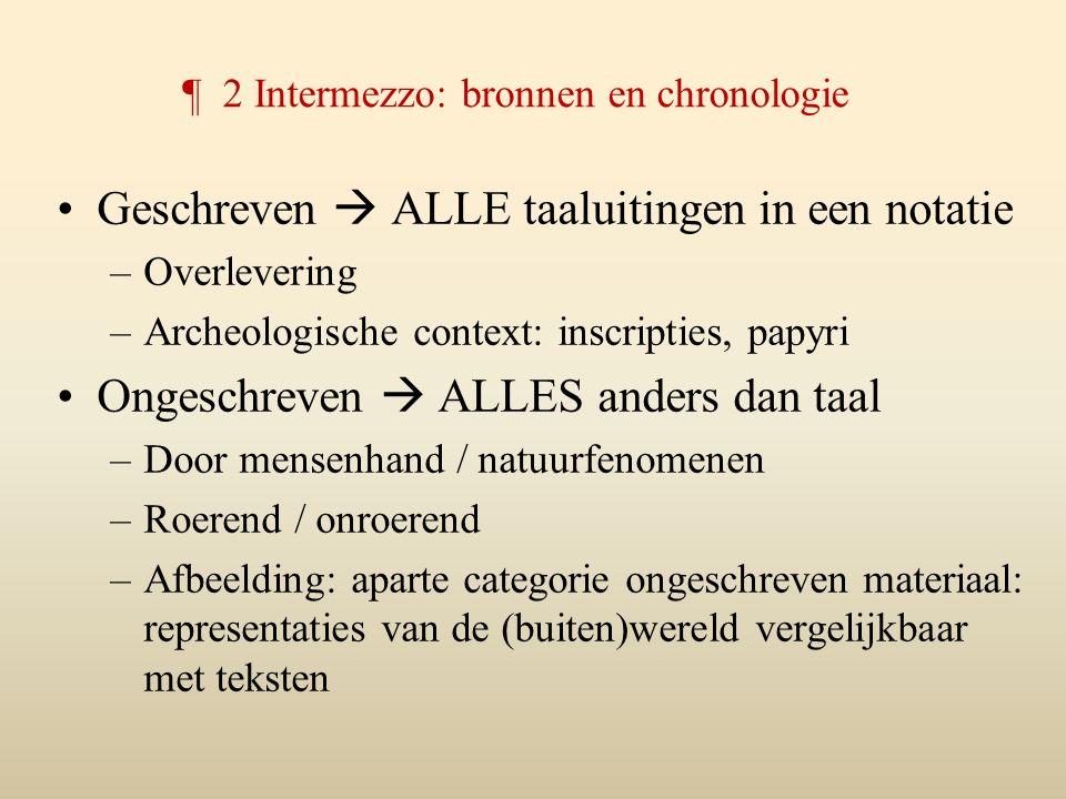 ¶ 2 Intermezzo: bronnen en chronologie Geschreven  ALLE taaluitingen in een notatie –Overlevering –Archeologische context: inscripties, papyri Ongesc